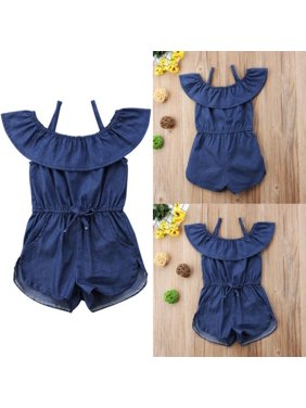 0844cd27a023 Product Image Hot Toddler Baby Kids Girls Denim Blue Strap Romper Jumpsuit  Playsuit Clothes Summer