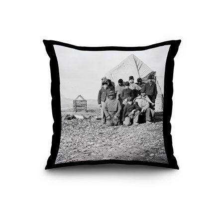 Group of Soldiers 2 Civil War Photograph 20x20 Spun Polyester Pillow B