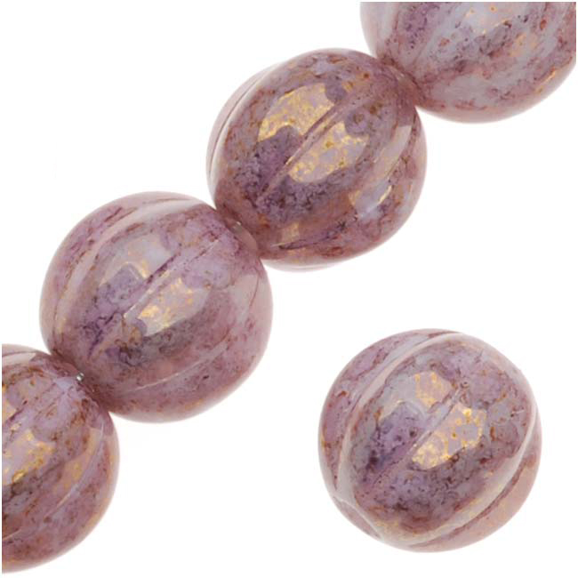 Czech Pressed Glass - Round Melon Beads 8mm 'Opaque Topaz/Pink Luster' (25)