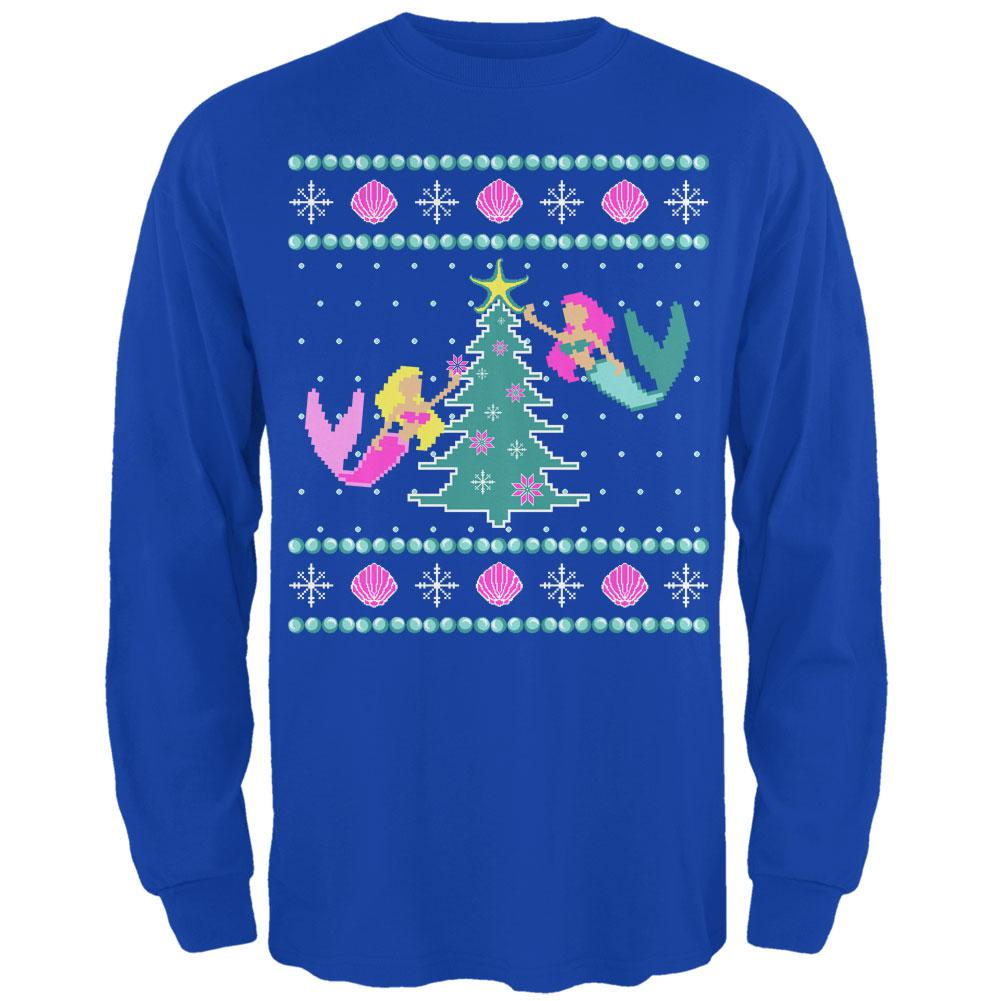 Mermaid Tree Ugly Christmas Sweater Mens Long Sleeve T Shirt