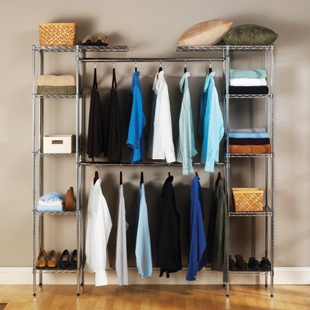 Zimtown Custom Closet Organizer Shelves System Kit Expandable Clothes Storage Metal Rack ()