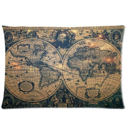 Artjia Stain Grunge Style Navigate World Map Pillow Cases 20x30