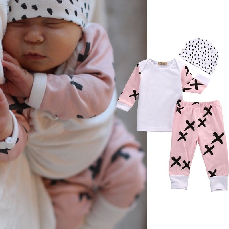 Baby Boy Newborn Outfits Clothes T Shirt Tops+Long Pants+Hat 3PCS 0-18Months XX