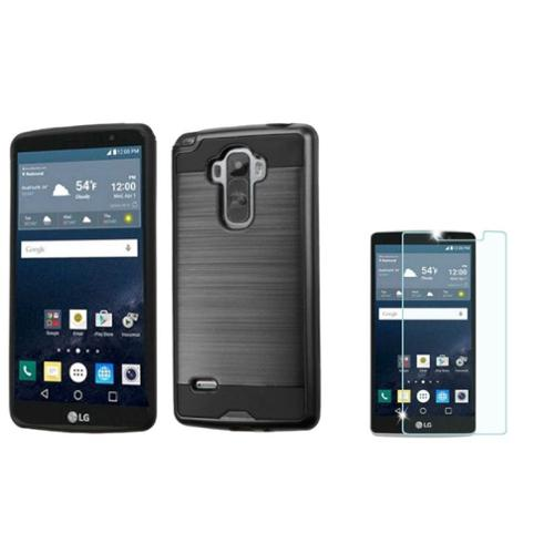 Insten Hard Dual Layer Rubber Silicone Case For LG G Stylo - Black (+ Shatterproof Glass Screen Protector)