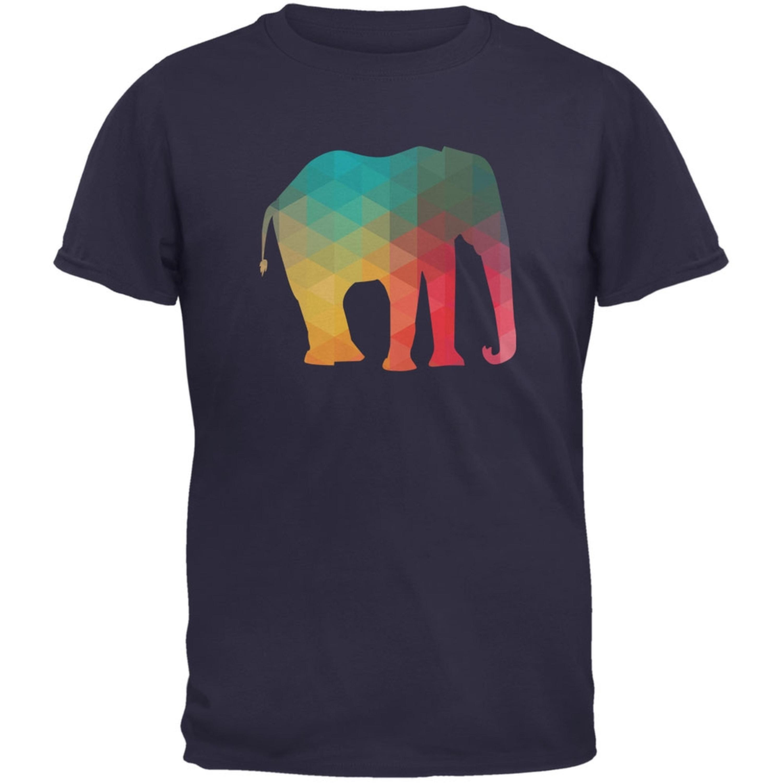 Elephant Geometric Navy Adult T-Shirt