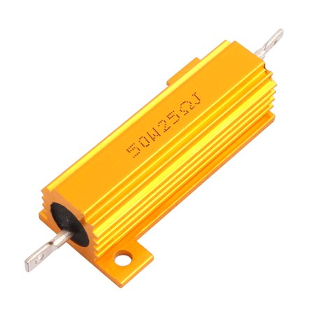 Aluminum Shell 50W 25 Ohm Chassis Mounted Axial Wirewound Resistor Gold Tone