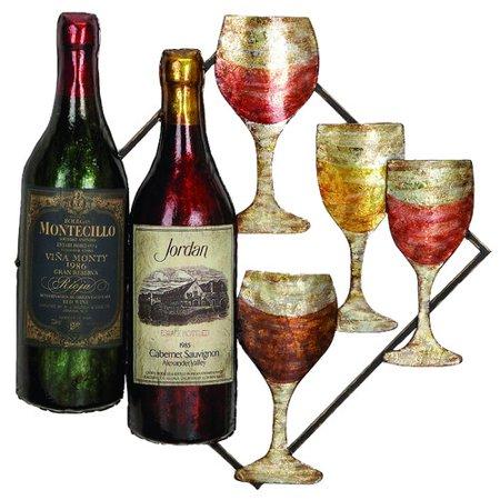 Ecworld Enterprises 7702086 Urban Designs Vino Wine Bottle And Glass Hanging Metal Wall Art
