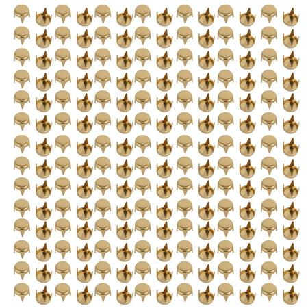 Unique Bargains 200pcs 5mm Flat Round Head Paper Brad Gold Tone for Scrapbooking DIY Craft