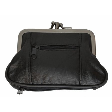 Leather Double Coin Purse - Women's Leather Metal Frame Double Clasp Zipper Coin Purse 5 1/4