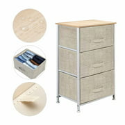 Akoyovwerve 3-Tier Dresser Drawer, Storage Unit with 3 Easy Pull Fabric Drawers and Metal Frame, Wooden Tabletop, for Closets, Nursery, Dorm Room, Hallway, Grey