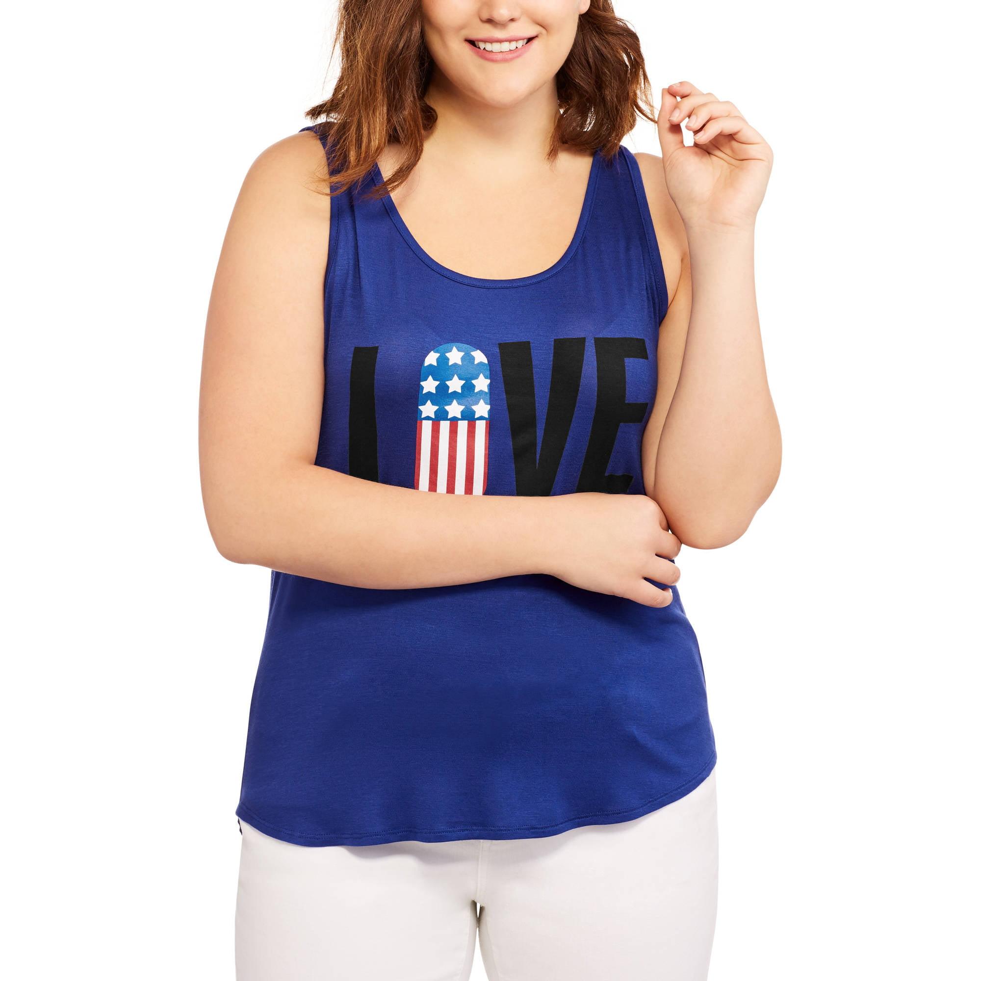 Women's Plus Americana Twist-Back Graphic Tank