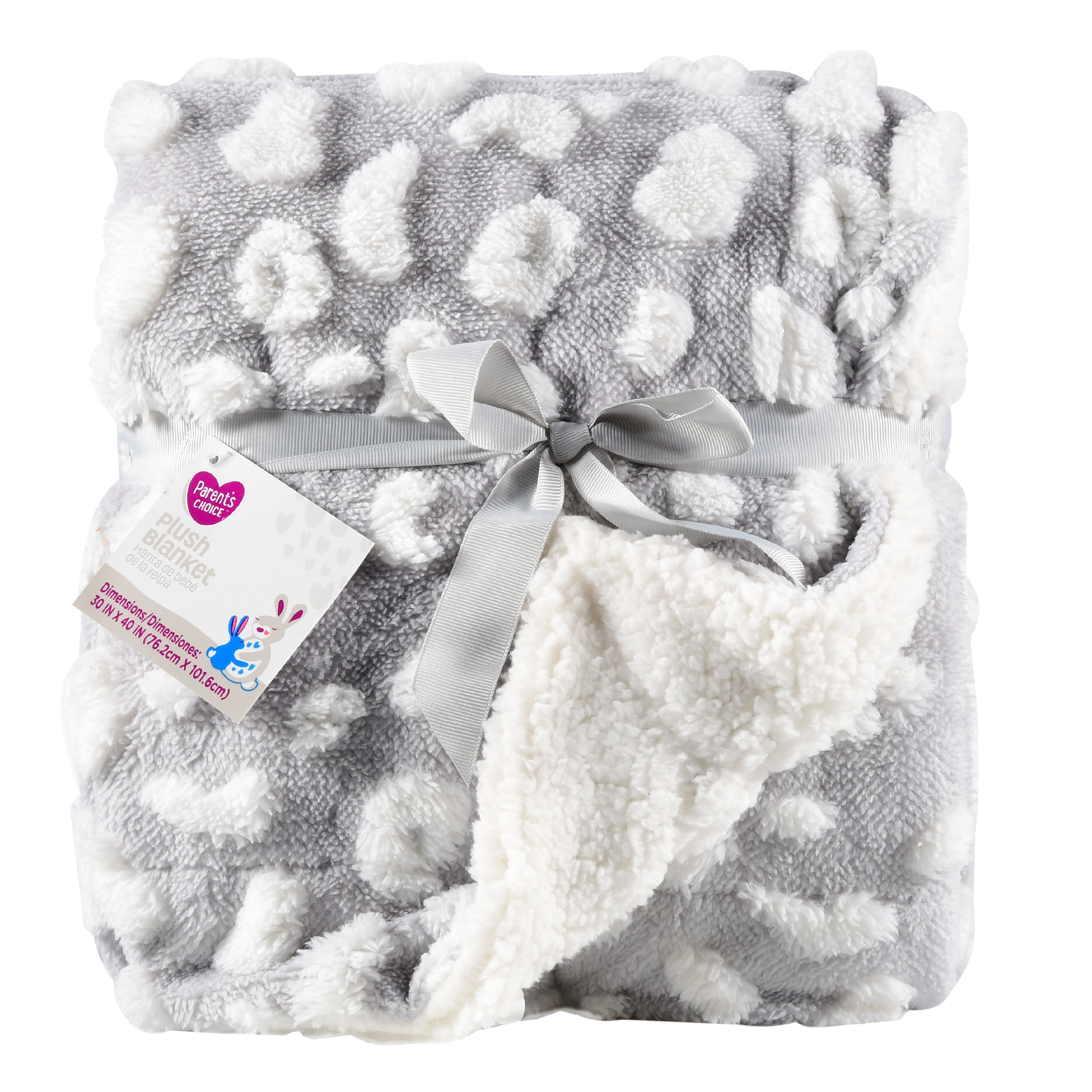 Parent's Choice Plush Baby Blanket, Gray, 1 Pack