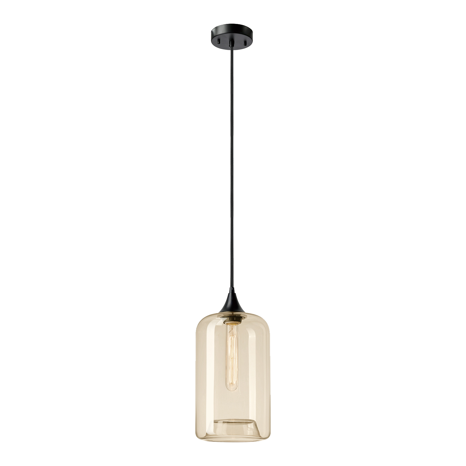 Globe Electric Ariana 1-Light Matte Black Pendant with Amber Glass Shade, 65612
