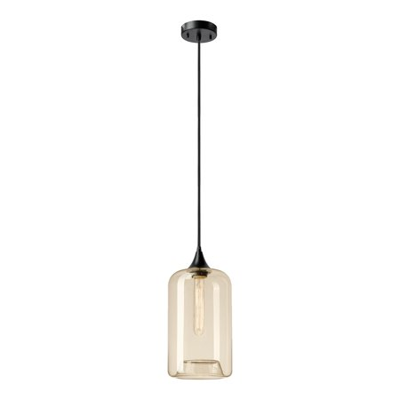 Globe Electric Ariana 1-Light Matte Black Pendant with Amber Glass Shade, 65612 ()