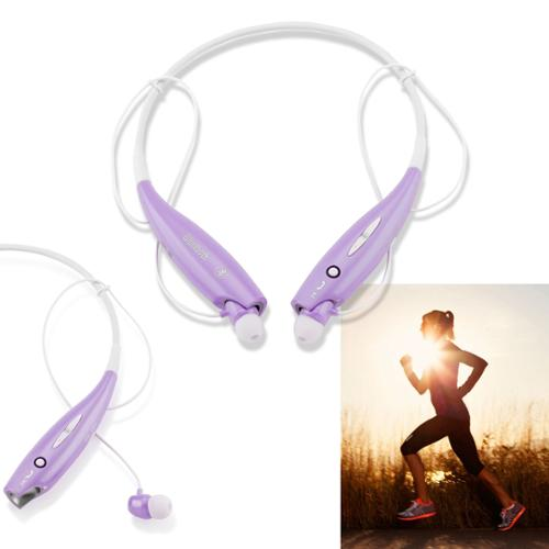 Wireless Stereo Bluetooth Sports Workout Gym Headset Neckband Earphone Earbuds Headphones for Cellphones iPhone Samsung Galaxy -Purple