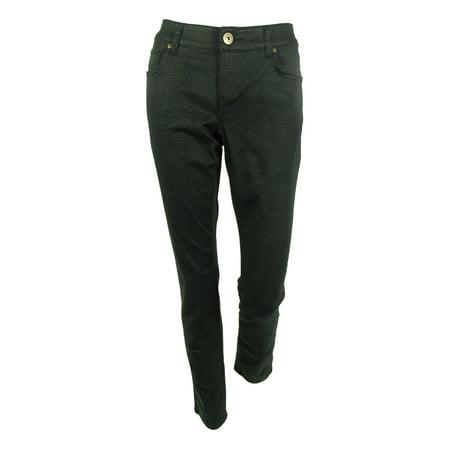 (INC International Concepts Women's Metallic Snake-Print Skinny Jeans (4, Black))