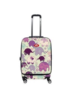 Nuki 017020 Front Accessible Luggage Lightweight Spinner, Elephants - 20 in.