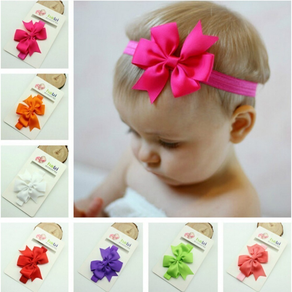 Baby Girls Multi Color Ribbon Bow Attached Stretchy 7 Pc Headband Set