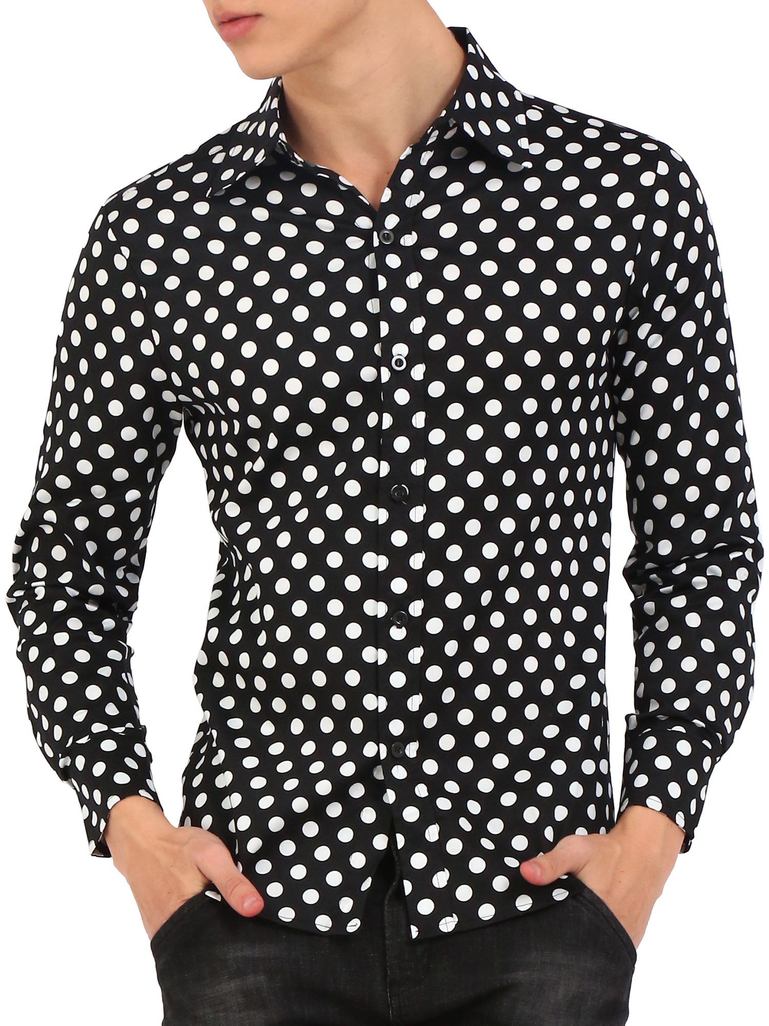 MINI SHATSU POLKA DOT HEADPHONES BUTTON DOWN SHIRT