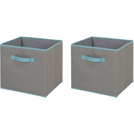 - South Shore Fabric Storage Bin, 2 Pack, Large Size, Gray and Turquoise