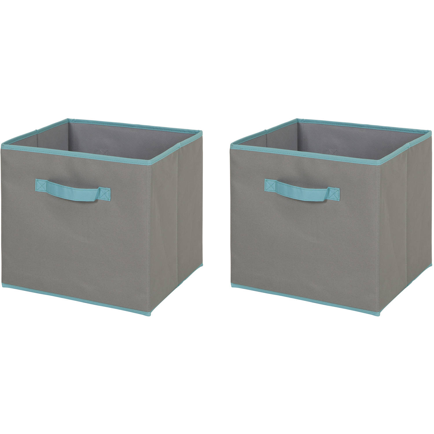 South Shore Fabric Storage Bin, 2 Pack, Large Size, Gray And Turquoise