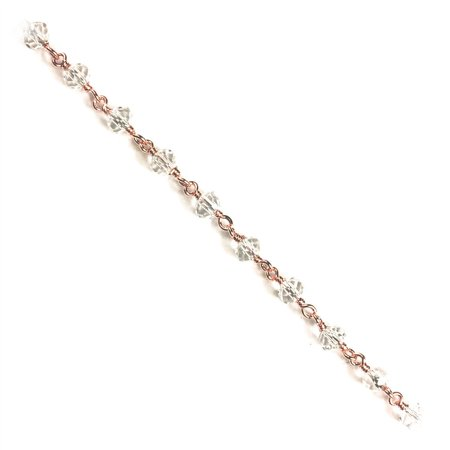 CHRG-237-CYQTZ Rose Gold Overlay Beading & Extender Chain With Crystal Quartz