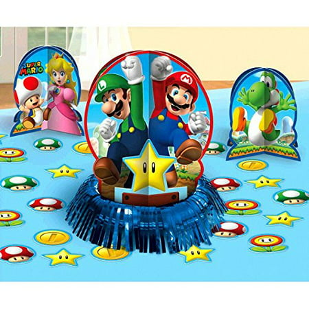 Super Mario Brothers Birthday 23-Piece Table Decorating Kit, PaperIt features Super Mario characters such as Mario, Luigi, Toad, Princess Peach, and Yoshi as.., By Designware