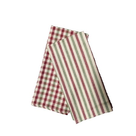(Textiles Plus Inc. Plain Weave Checker & Stripe Kitchen Towel (Set of 4))