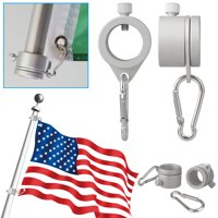 "EEEKit 2 Pack Aluminum Flagpole Mounting Rings 360 Degree Rotating Anti-Wrap Flagpole Flag Mounting Rings Spinning Flag Pole Kit Mounting Ring Clip with Carabiner for 0.75-1"" Diameter"