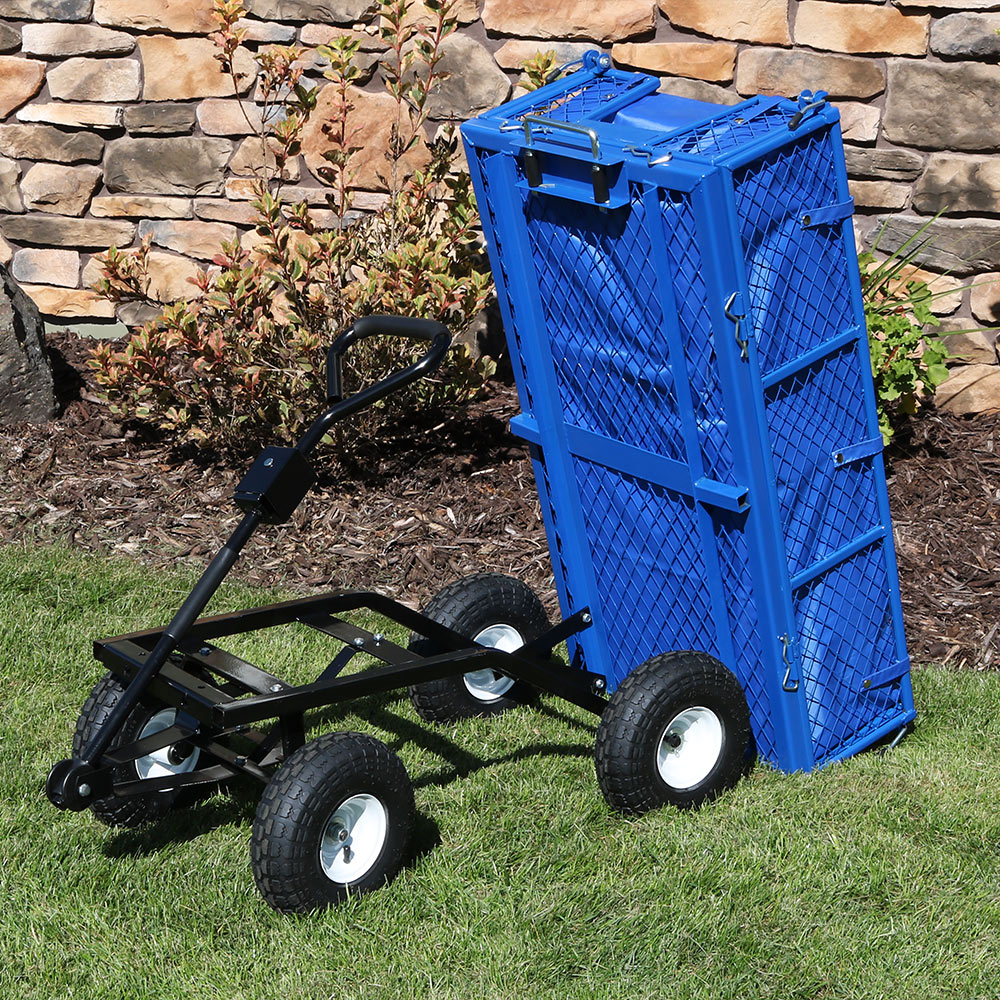 Sunnydaze Steel Dump Utility Cart with Folding Sides and Liner Set, Heavy-Duty 660 Pound Weight Capacity, Black