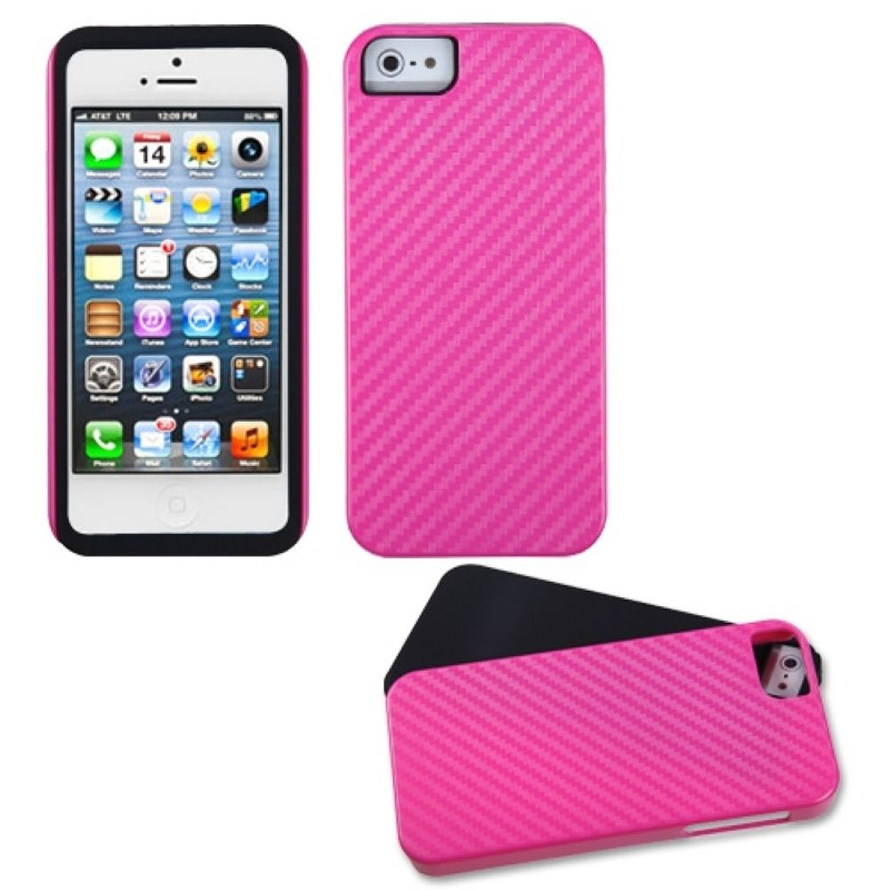 Insten Fusion Hard Hybrid Silicone Cover Case For Apple iPhone 5/5S/SE - Red