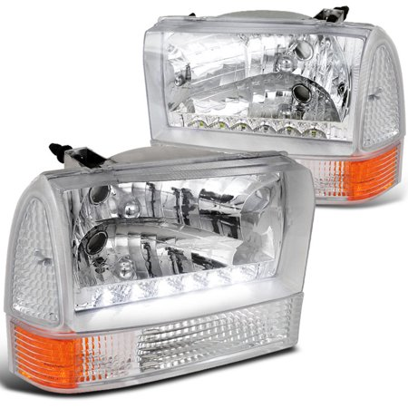 Spec-D Tuning For 1999-2004 Ford F250 F350 F450 4Pc Crystal Clear Led Headlights W/ Corner (Left+Right) 1999 2000 2001 2002 2003 2004