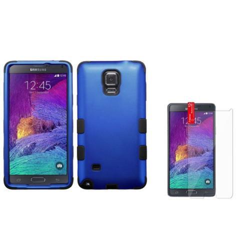 Insten For Samsung Galaxy Note 4 N9100 Hard Silicone Hybrid Case+Protector Dark Blue/Black