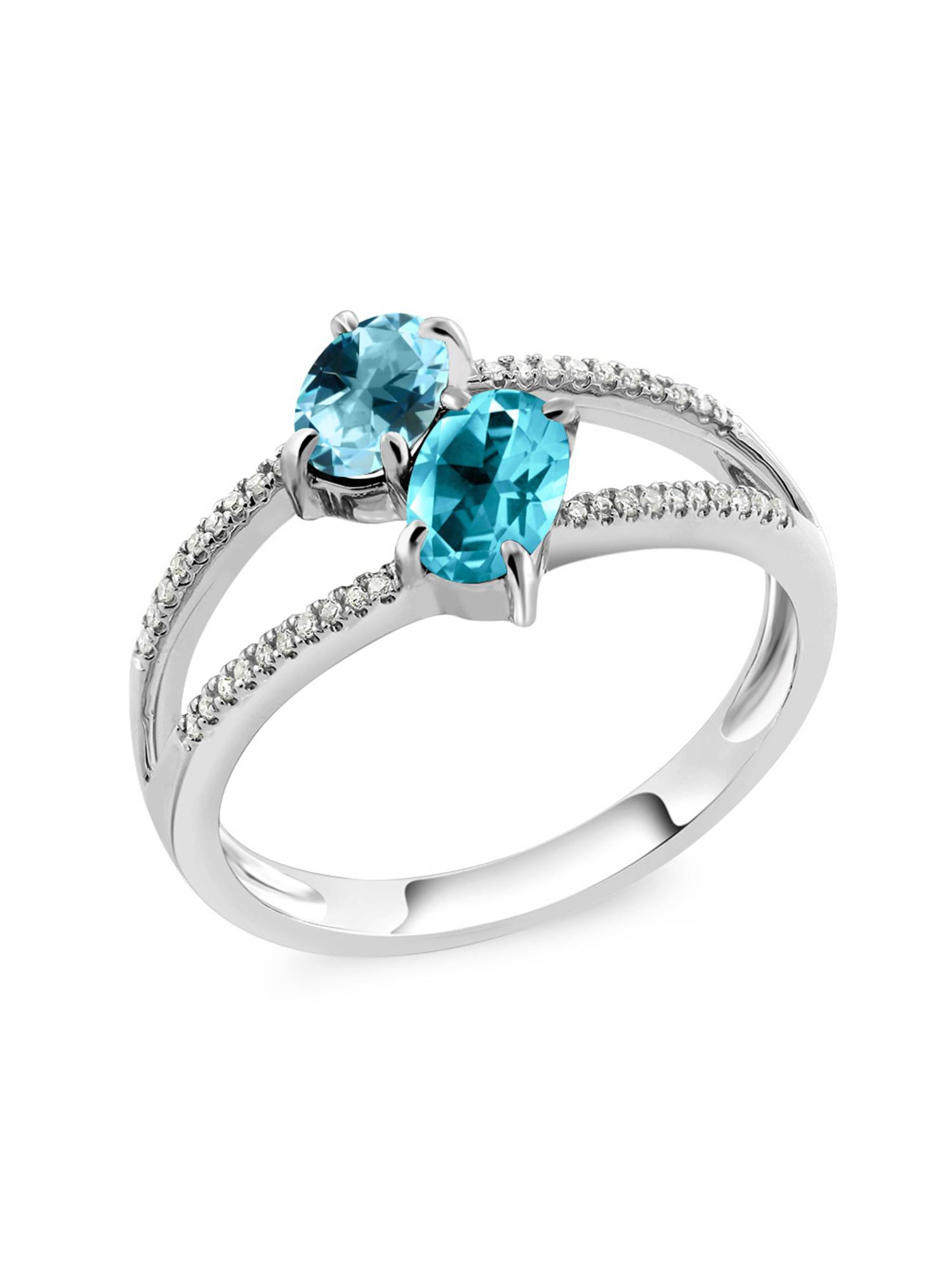 10K White Gold Diamond Ring Set with Oval Ice Blue Topaz from Swarvoski by