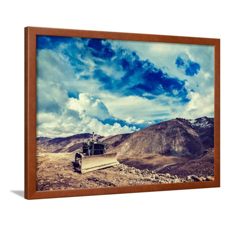 Vintage Retro Effect Filtered Hipster Style Travel Image of Bulldozer on Road in Himalayas. Ladakh, Framed Print Wall Art By f9photos