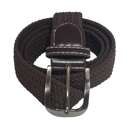 eVogues Plus Size Braided Woven Stretch Belt Brown