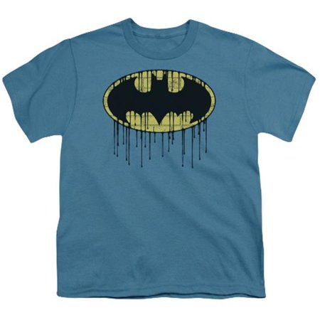 Batman-Dripping Brick Wall Shield - Short Sleeve Youth 18-1 Tee - Slate, Large - image 1 of 1