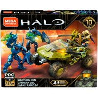 Mega Construx Halo Warthog Run Buildable Vehicle with 4-Action Figures