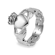 Stainless Steel Celtic Knot Eternity Claddagh Ring (15mm)