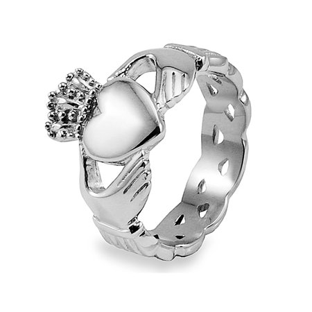 Celtic Ring Jewelry - Stainless Steel Celtic Knot Eternity Claddagh Ring (15mm)