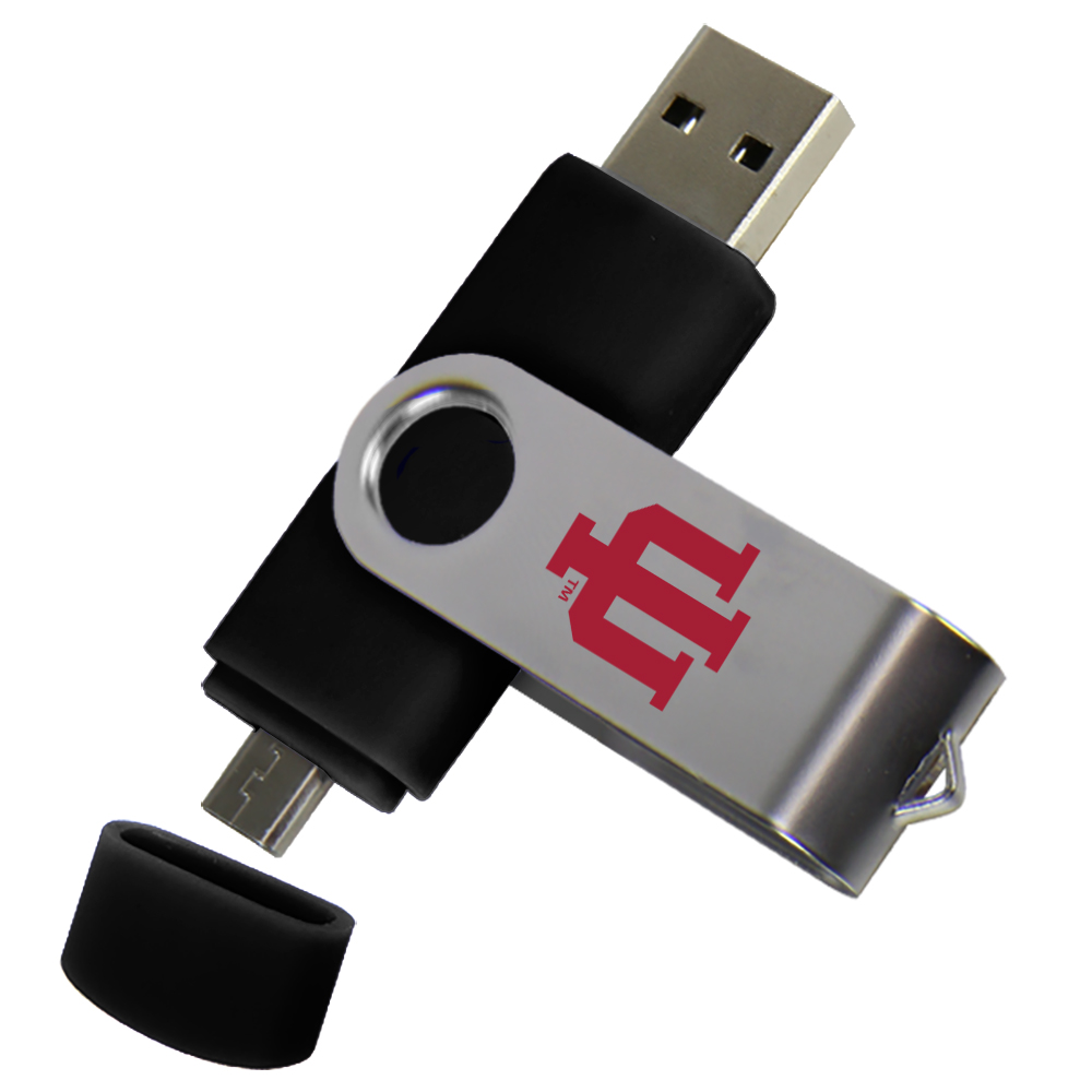 Indiana Hoosiers Dual Pro Micro to USB Drive 16GB Black