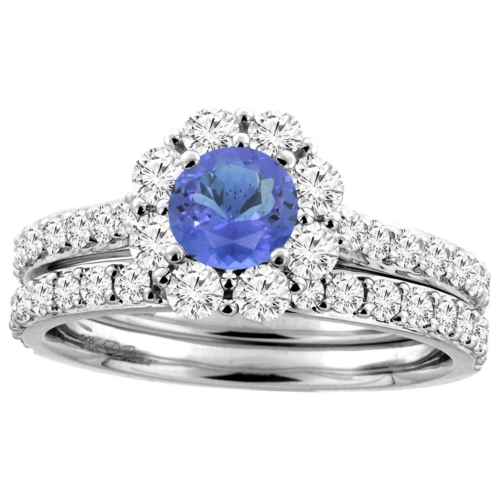 14K White Gold Diamond Natural Tanzanite Halo Engagement Bridal Ring Set Round 5 mm, size 5 by Gabriella Gold