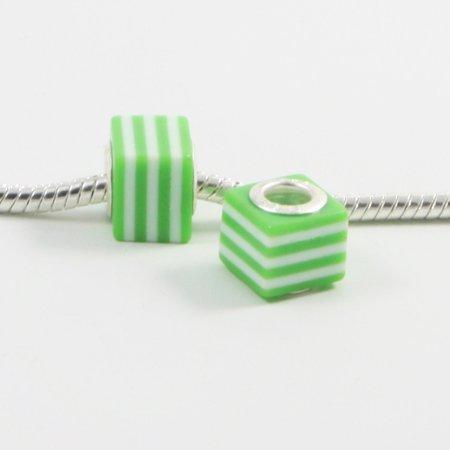 Cube 3 Light - 3 Beads - Resin Cube Stripe Green Silver European Bead Charm E0249