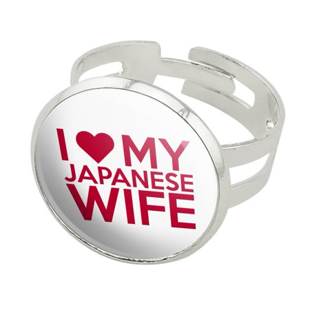 I Love My Japanese Wife Silver Plated Adjustable Novelty Ring (Japanese Ring)