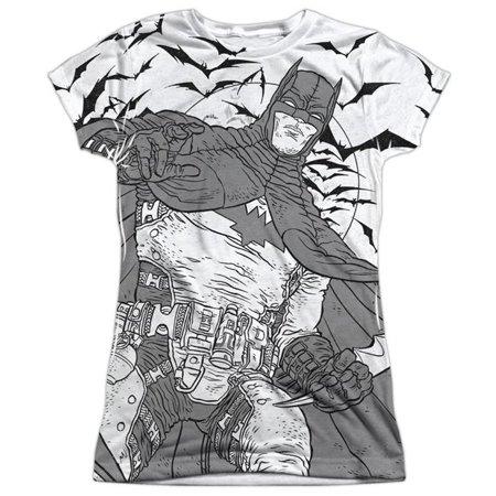 Trevco BM2566-JSPP-2 Batman & Liney Sub-S by S Junior Poly Crew Sublimation T-Shirt, White - Medium (Female Batman)