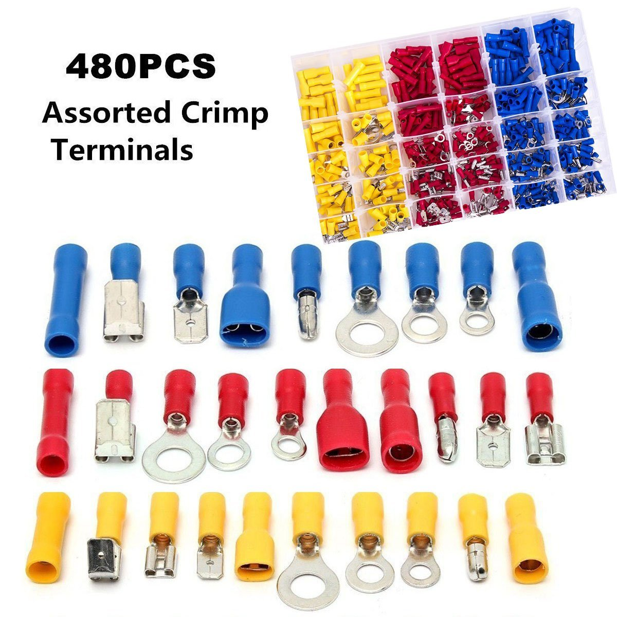 480 Pcs Mixed Assorted Crimp Terminal Connectors Set,Electrical Wire Connector Spade Terminal Assortment Kit with Storage Case