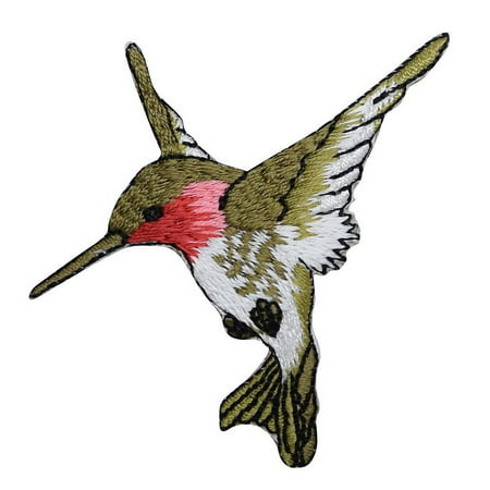 T Birds Patch Grease (Large - Hummingbird - Facing LEFT - Ruby Red Throat - Iron on Embroidered Applique)