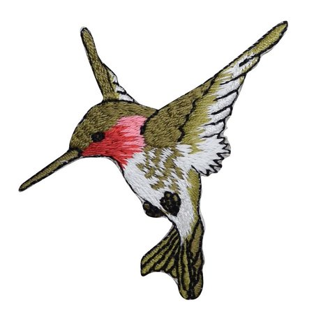 Arcteryx Embroidered Bird (Large - Hummingbird - Facing LEFT - Ruby Red Throat - Iron on Embroidered Applique Patch)