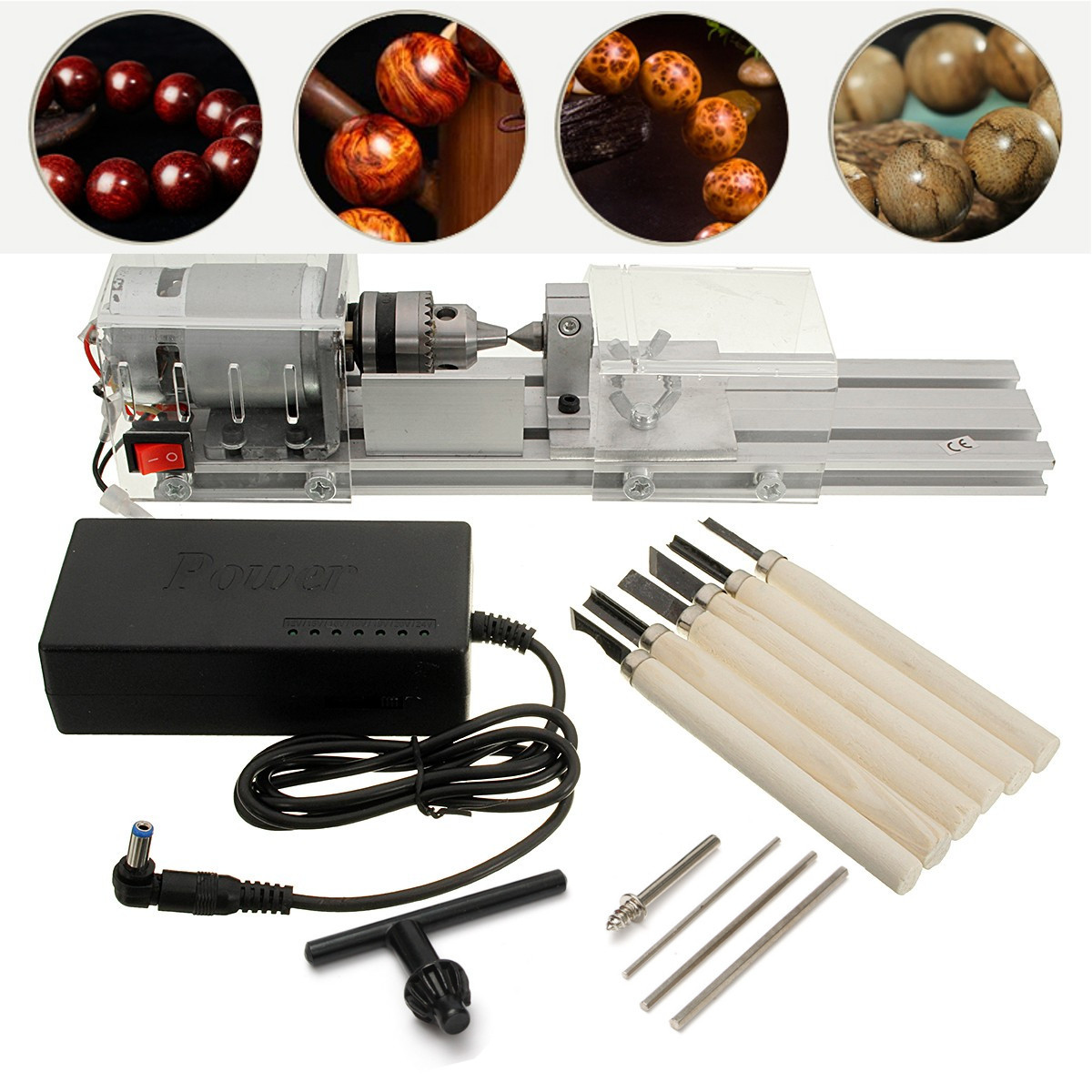 Mini Lathe Beads Machine Woodworking DIY Lathe Standard with Power DC 24V-36V by