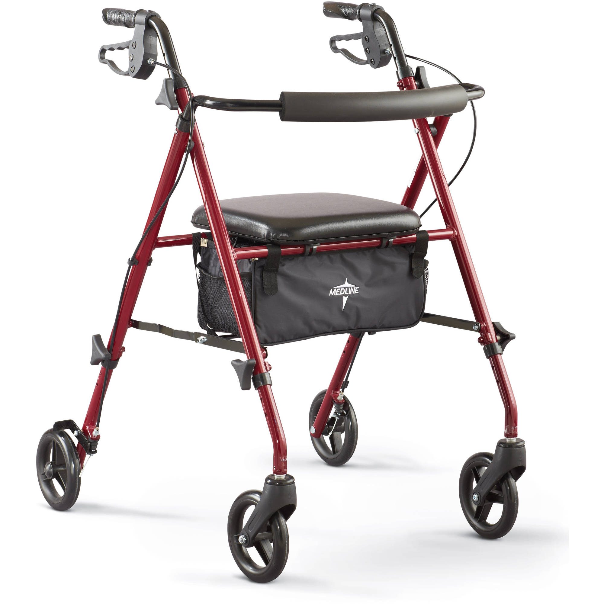Medline Ultra Lightweight Rollator, Burgundy